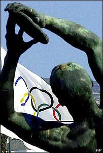 Estadio Panateniano, con la bandera de las olimpiadas