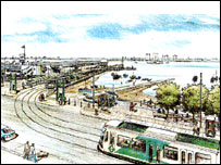 This tiny picture, used on the BBC News website (here) is one of the few remains of the South Hampshire Rapid Transit scheme. Here, a tram is about to turn alongside Portsmouth's Hard Interchange before disappearing into the harbour tunnel.