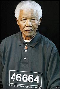 Nelson Mandela - with his prison number on his shirt - speaks in Johannesburg in 1994