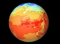 Simulación de los cambios globales de temperatura. Cortes�a: climateprediction.net