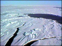 Pack ice in the Arctic.  Image: BBC