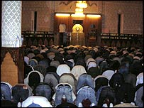 Muslims praying at a mosque in Evry, south of Paris