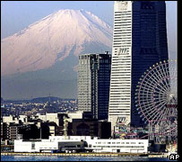Mount Fuji, looking over Yokohama bay, south of Tokyo