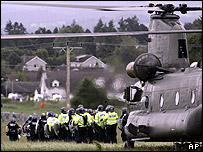 Police officers flown in by Chinook