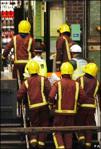 Firefighters at Aldgate Tube station