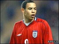 Nathan Tyson in action for England Under-20s