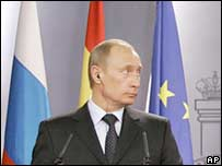 Russian President Vladimir Putin during a news conference in Madrid