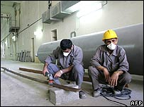 Technicians at Iran's Bushehr nuclear reactor