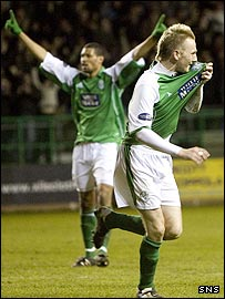 Happier days. Hibs then twenty-goal a season man celebrates yet another marker