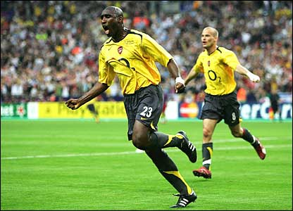 Campbell after scoring against Barcelona in the Champions League final