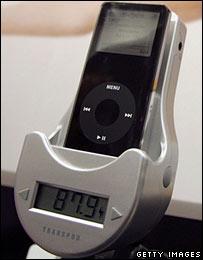 iPod conectada a un transmisor de radio