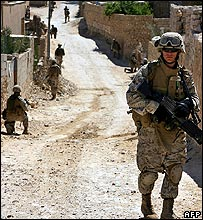 US marines on patrol in Haditha