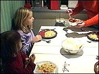 Girls at dinner
