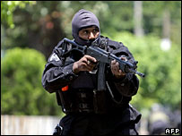 Police officer from elite reaction force in San Salvador