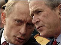 Russian Vladimir Putin (left) and US President George W Bush
