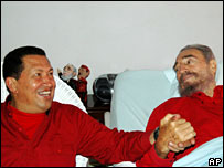 Hugo Chavez visits Fidel Castro in hospital in Cuba, August 2006