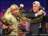 Steve Irwin, Jay Leno and a large snake