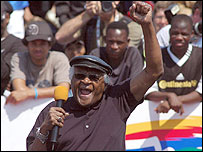 Archbishop Tutu at the Homeless World Cup, Cape Town, 29/9/2006