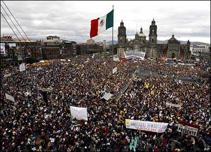 Pro Lopez Obrador demonstration, Zocalo square, Mexico, in 2005