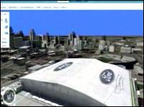 """El programa """"Virtual Earth"""" mostrando imágenes en 3D"""