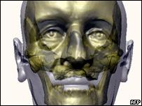 Sobre la base de las técnicas de computación, se construyó un busto de arcilla.