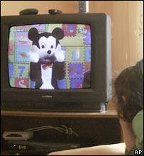 Palestinian girl watches Farfur on al-Aqsa television