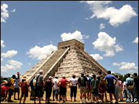 Tourists at Chichen Itza in Mexico