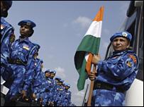 Women Indian UN troops arriving in Liberia