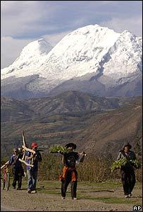 Campesinos en los Andes de Perú