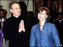 Tony and Cherie Blair, Bangalore 2001