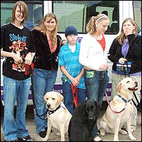 Left-Right: Liam, head dog trainer Nina Bondarenko, Rob, Ellie and Katrina