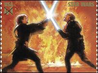 El sello de 41 centavos de dólar muestra a Anakin Skywalker y a Obi-Wan Kenobi.