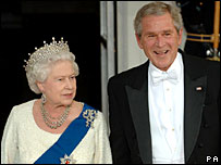 Queen Elizabeth II and George W Bush at the White House for a state dinner