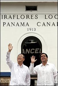 Ban Ki Moon, secretario general de la ONU y Mart�n Torrijos, presidente de Panamá