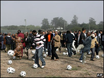 Players kick goals against racism on Robben Island