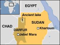 Sudan map showing underground lake