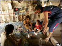 Displaced Iraqi family