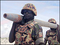 Ugandan African Union troops destroy weapons near Mogadishu