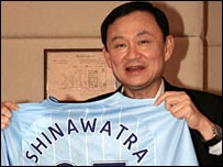 Thaksin completed his purchase of Manchester City earlier this month