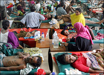 Patients are treated at the International Centre for Diarrhoea Diseases hospital in Dhaka, Bangladesh, after drinking polluted water