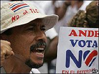 Protesta contra el TLC en Costa Rica
