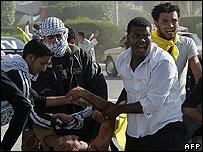Injured demonstrator at Arafat rally