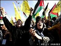 Women shouting at rally