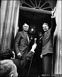 Rhodesian Prime Minister Ian Smith meets the press at 10 Downing Street with British Prime Minister Harold Wilson (Photo by Terry Fincher/Getty Images)