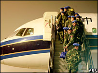 Chinese army engineers leave for Darfur, 23 November 2007