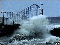 Stormy seas in Blackpool