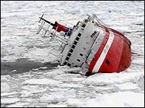 Explorer on side in ice