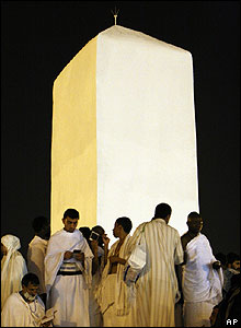 Pillar at the top of Mount Arafat
