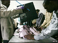 Electoral officers start counting at a local polling station in Nairobi
