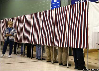 Polling booths at a primary school in Manchester, New Hampshire